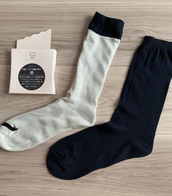 絹屋内側シルク二重編み靴下